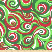 Christmas Festive Swirl Cotton Fabric - Red