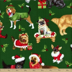 Christmas Novelty Holiday Pups Cotton Fabric - Green