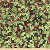 Christmas Packed Holly Cotton Fabric - Green