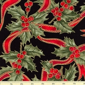 Christmas Ribbons Berry Cotton Fabric - Black