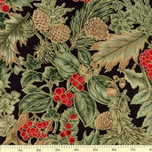 Christmas Ribbons Leaves and Berries Cotton Fabric - Black