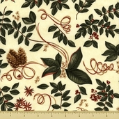 Christmas Spirit Cotton Fabric - Botanical - Cream