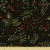 Christmas Spirit Cotton Fabric - Botanical - Forest Green