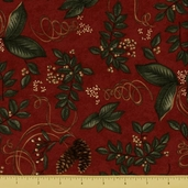 Christmas Spirit Cotton Fabric - Botanical - Garnet