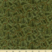 Christmas Spirit Pine Trees Cotton Fabric - Pine Green