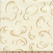 Christmas Spirit Ribbon Toss Cotton Fabric - Cream 6474-11