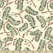 Christmas Spirit Seasonal Boughs Cotton Fabric Cream