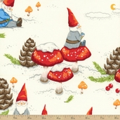 Christmas Time Gnomes in the Snow Cotton Fabric - Tea