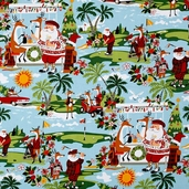 Christmas Time Holiday Hole-in-One Cotton Fabric - Light Blue