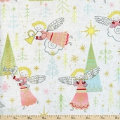 Christmas Time Littlest Angel Cotton Fabric - Cream