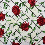 Christmas Traditions Cotton Fabric - Rose Lattice Cream