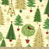 Christmas Tree Glitz Tree Cotton Fabric - Cream