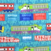 Chuggington Fleece Fabric - Ride the Rails - Teal