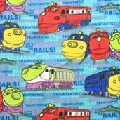 Chuggington Fleece Fabric - Trains - Teal