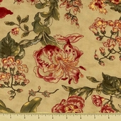 Cinnamon Spice Cotton Fabric - Floral - Natural 2700-14