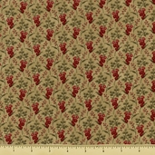 Cinnamon Spice Cotton Fabric - Small Floral - Natural 2704-14