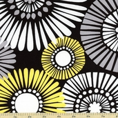 Citron Gray Straw Daisy CX5485-D Cotton Fabric - Black