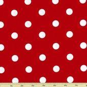 Classic Dots and Stripes Cotton Fabric - Red Dots