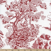 Classic Minis Pictorial Cotton Fabric - Red