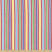 Classic Threads Yarn Dyed Cotton Fabric - Small Stripes - Primary