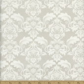 Classical Elements Damask Cotton Fabric - Light Silver