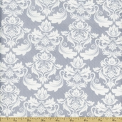 Classical Elements Damask Cotton Fabric  - Silver