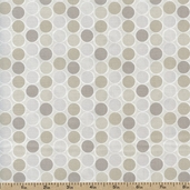 Classical Elements Grid Circles Cotton Fabric - Natural