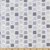 Classical Elements Grid Squares Cotton Fabric - Grey