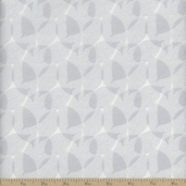 Classical Elements Leaf Cotton Fabric - Light Silver