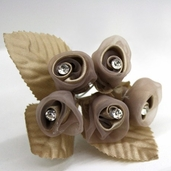 Classical Silk Decorative Flower 6 Pack Bundle - Beige
