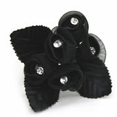 Classical Silk Decorative Flower 6 Pack Bundle - Black