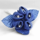 Classical Silk Decorative Flower 6 Pack Bundle - Blue