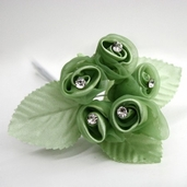 Classical Silk Decorative Flower 6 Pack Bundle - Green