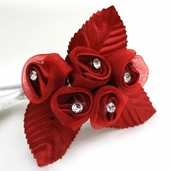 Classical Silk Decorative Flower 6 Pack Bundle - Red