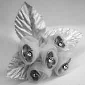 Classical Silk Decorative Flower 6 Pack Bundle - Silver