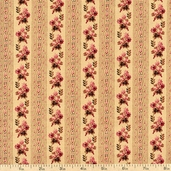 Cocheco Mills Collection III Floral Stripe Cotton Fabric - Beige R22-3276-0126