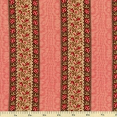 Cocheco Mills Collection III Floral Stripe Cotton Fabric - Red