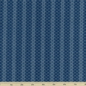 Cocheco Mills Collection III Scale Stripe Cotton Fabric - Blue