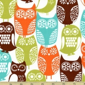 Cocoa Berry Swedish Owls Cotton Fabric - Brown CX5439-D