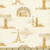Coffee Break Toile Cotton Fabric - Gold/Ivory 1680-74023-155S
