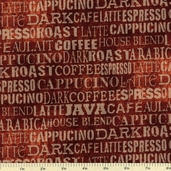 Coffee Break Words Cotton Fabric - Espresso 1680-74020-232S