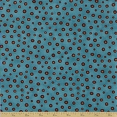 Coffee Cat Cafe Cotton Fabric - Coffee Bean Blue