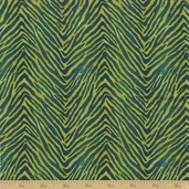 Coffee Cat Cafe Cotton Fabric - Green Zebra