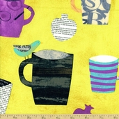 Collage Cups Cotton Fabric - Green