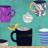 Collage Cups Cotton Fabric - Teal