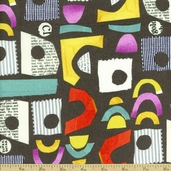 Collage Handles Cotton Fabric - Grey