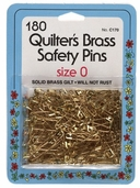 Collins Quilter's Brass Safety Pins 180ct Size 0