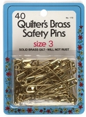 Collins Quilter's Brass Safety Pins 40ct Size 3