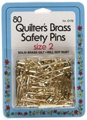 Collins Quilter's Brass Safety Pins 80ct Size 2