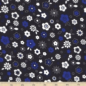 Color Blast Floral Cotton Fabric - Black